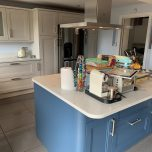 Painting a dark wooden Magnet kitchen in Wooburn Green, Buckinghamshire.